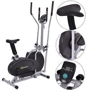 Goplus 2 IN 1 Elliptical Fan Bike Dual Cross Trainer Machine Exercise Workout Home Gym